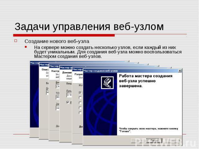 Задачи управления веб-узлом Создание нового веб-узла На сервере можно создать несколько узлов, если каждый из них будет уникальным. Для создания веб-узла можно воспользоваться Мастером создания веб-узлов.
