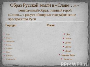 Образ Русской земли в «Слове…» - центральный образ, главный герой Города: