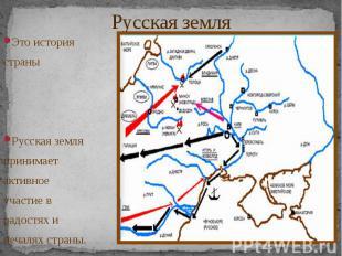 Русская земля Это история страны Русская земля принимает активное участие в радо