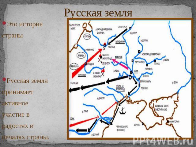 Русская земля Это история страны Русская земля принимает активное участие в радостях и печалях страны.