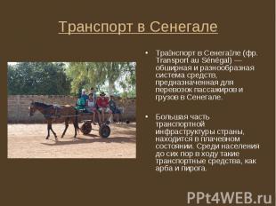 Тра нспорт в Сенега ле (фр. Transport au Sénégal) — обширная и разнообразная сис