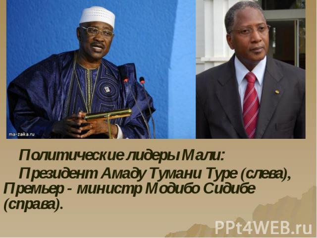 Политические лидеры Мали: Политические лидеры Мали: Президент Амаду Тумани Туре (слева), Премьер - министр Модибо Сидибе (справа).
