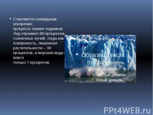 Становится очевидным ускорение процесса таяния ледников. Лед отражает 80 процент
