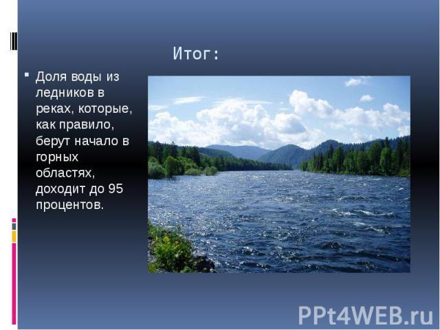 Итог: Доля воды из ледников в реках, которые, как правило, берут начало в горных областях, доходит до 95 процентов.