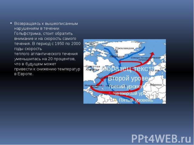 Возвращаясь к вышеописанным нарушениям в течении Гольфстрима, стоит обратить внимание и на скорость самого течения. В период с 1950 по 2000 годы скорость теплого атлантического течения уменьшилась на 20 процентов, что в будущем может привести к сниж…