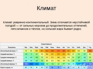 Климат Климат умеренно-континентальный. Зима отличается неустойчивой погодой&nbs
