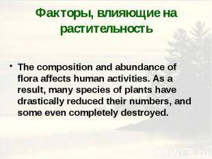 Факторы, влияющие на растительность The composition and abundance of flora affec