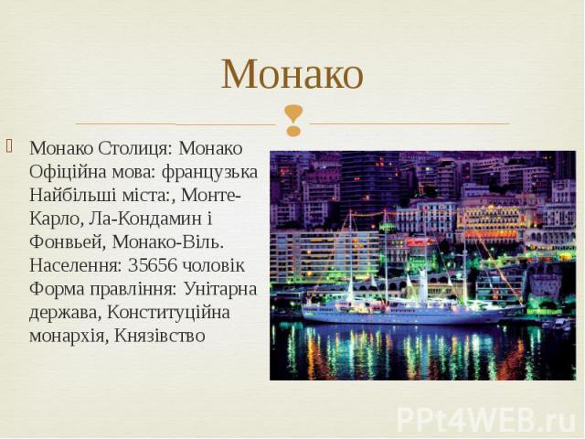 Монако Монако Столиця: Монако Офіційна мова: французька Найбільші міста:, Монте-Карло, Ла-Кондамин і Фонвьей, Монако-Віль. Населення: 35656 чоловік Форма правління: Унітарна держава, Конституційна монархія, Князівство
