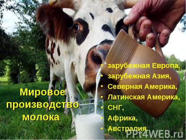 Мировое производство молока зарубежная Европа, зарубежная Азия, Северная Америка, Латинская Америка, СНГ, Африка, Австралия.
