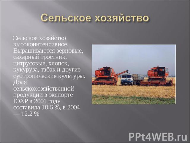Сельское хозяйство высокоинтенсивное. Выращиваются зерновые, сахарный тростник, цитрусовые, хлопок, кукуруза, табак и другие субтропические культуры. Доля сельскохозяйственной продукции в экспорте ЮАР в 2001 году составила 10.6%, в 2004 — 12.2…