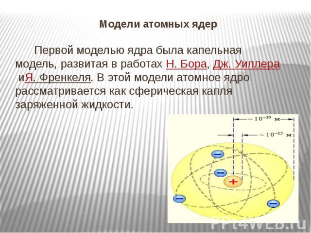 Модели атомных ядер  Первой моделью ядра была капельная модель, развитая в работахН.Бора,Дж.УиллераиЯ.Френкеля. В этой модели атомное ядро рассматривается как сферическая капля заряженной жидкости.