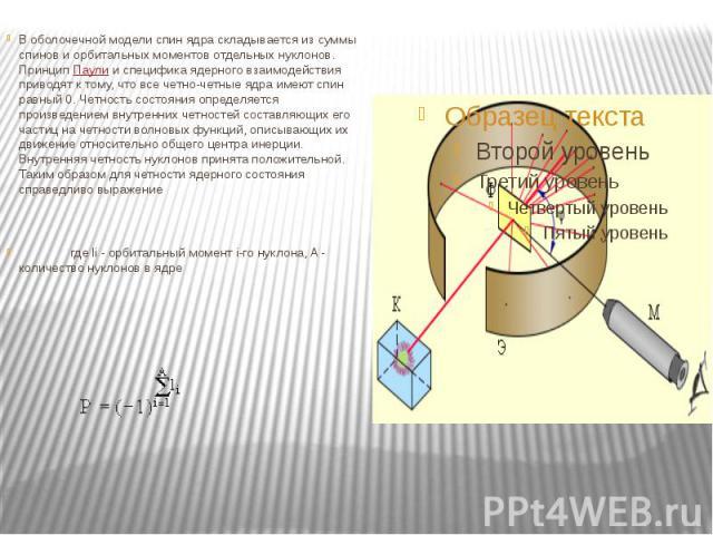 В оболочечной модели спин ядра складывается из суммы спинов и орбитальных моментов отдельных нуклонов. ПринципПаулии специфика ядерного взаимодействия приводят к тому, что все четно-четные ядра имеют спин равный 0. Четность состояния опр…