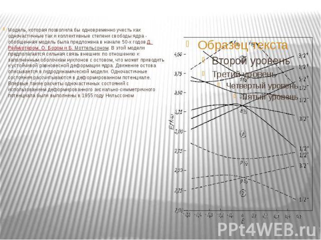 Модель, которая позволила бы одновременно учесть как одночастичные так и коллективные степени свободы ядра - обобщенная модель была предложена в начале 50-х годовД.Рейнуотером, О.Бором и Б.Моттельсоном. В этой модели предпола…