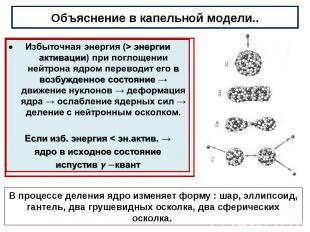 Объяснение в капельной модели.. Избыточная энергия (>энергии активации) при п