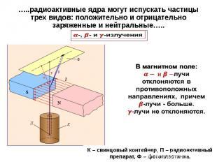 …..радиоактивные ядра могут испускать частицы трех видов: положительно и отрицат