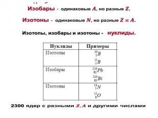Изобары- одинаковые , но разные , Изотоны- одинаковые , но разные . Изотопы, изо
