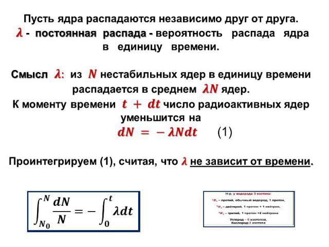 Пусть ядра распадаются независимо друг от друга. - постоянная распада - вероятность распада ядра в единицу времени. Смысл из нестабильных ядер в единицу времени распадается в среднем ядер. К моменту времени число радиоактивных ядер уменьшится на (1)…