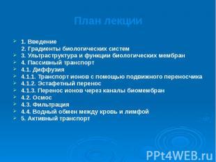 План лекции 1. Введение 2. Градиенты биологических систем 3. Ультраструктура и ф