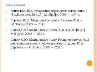Список литературы Коноплева, И.А. Управление персоналом организации / И.А.Конопл