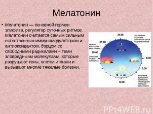 Мелатонин Мелатонин — основной гормон эпифиза, регулятор суточных ритмов. Мелато