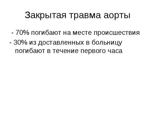 - 70% погибают на месте происшествия - 70% погибают на месте происшествия - 30% из доставленных в больницу погибают в течение первого часа