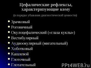 Зрачковый Зрачковый Роговичный Окулоцефалический («глаза куклы») Вестибулярный А