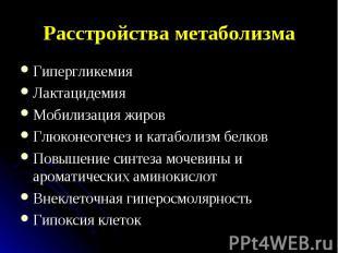Гипергликемия Гипергликемия Лактацидемия Мобилизация жиров Глюконеогенез и катаб