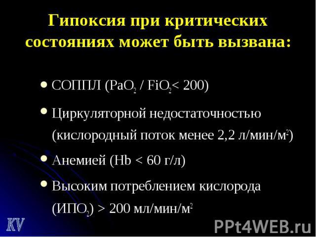 СОППЛ (РаО2 / FiO2< 200) СОППЛ (РаО2 / FiO2< 200) Циркуляторной недостаточностью (кислородный поток менее 2,2 л/мин/м2) Анемией (Hb < 60 г/л) Высоким потреблением кислорода (ИПО2) > 200 мл/мин/м2