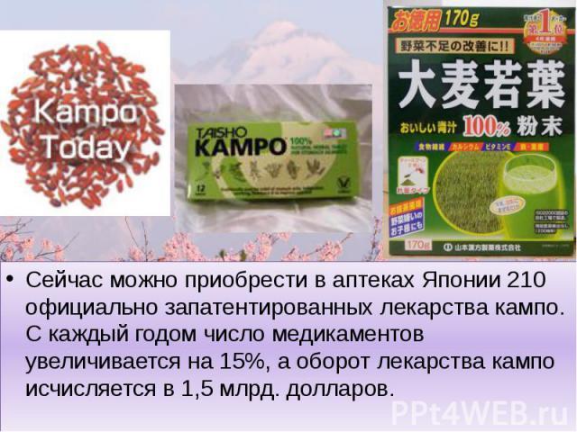 Сейчас можно приобрести в аптеках Японии 210 официально запатентированных лекарства кампо. С каждый годом число медикаментов увеличивается на 15%, а оборот лекарства кампо исчисляется в 1,5 млрд. долларов.