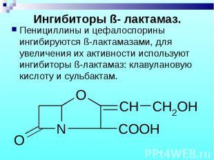 Пенициллины и цефалоспорины ингибируются ß-лактамазами, для увеличения их активн