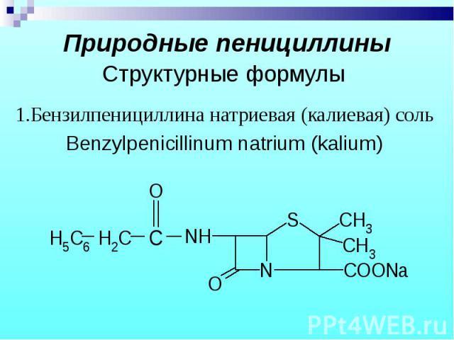 1.Бензилпенициллина натриевая (калиевая) соль 1.Бензилпенициллина натриевая (калиевая) соль Benzylpenicillinum natrium (kalium)