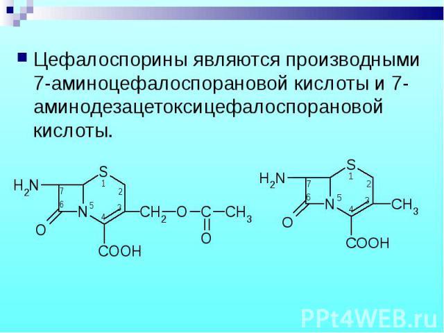 Цефалоспорины являются производными 7-аминоцефалоспорановой кислоты и 7-аминодезацетоксицефалоспорановой кислоты. Цефалоспорины являются производными 7-аминоцефалоспорановой кислоты и 7-аминодезацетоксицефалоспорановой кислоты.