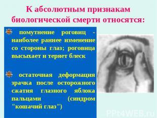 помутнение роговиц - наиболее раннее изменение со стороны глаз; роговица высыхае