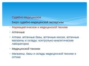 Судебно-медицинское Бюро судебно-медицинской экспертизы Фармацевтическое и медиц