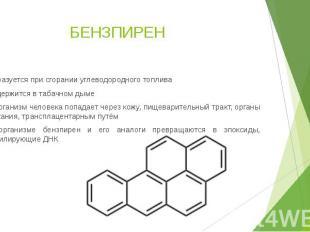 БЕНЗПИРЕН Образуется при сгорании углеводородного топлива Содержится в табачном