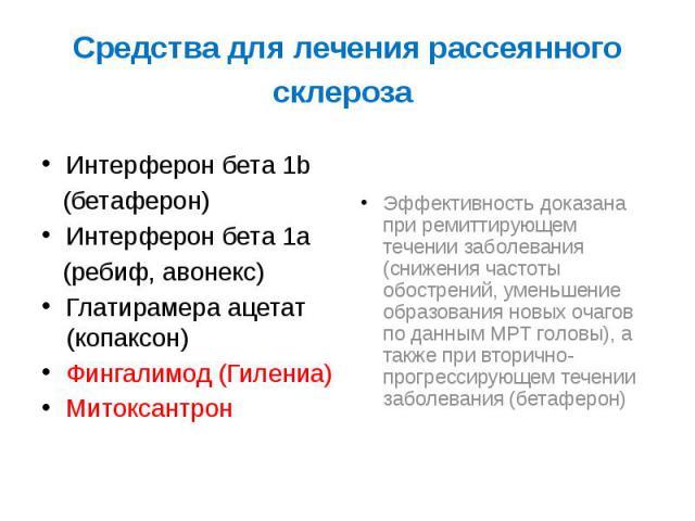 Средства для лечения рассеянного склероза Интерферон бета 1b (бетаферон) Интерферон бета 1a (ребиф, авонекс) Глатирамера ацетат (копаксон) Фингалимод (Гилениа) Митоксантрон