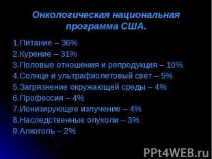 1.Питание – 36% 1.Питание – 36% 2.Курение – 31% 3.Половые отношения и репродукци