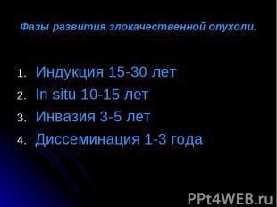 Индукция 15-30 лет Индукция 15-30 лет In situ 10-15 лет Инвазия 3-5 лет Диссемин
