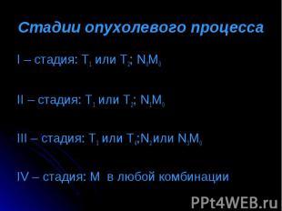 I – стадия: Т1 или Т2; N0M0 I – стадия: Т1 или Т2; N0M0 II – стадия: Т1 или Т2;