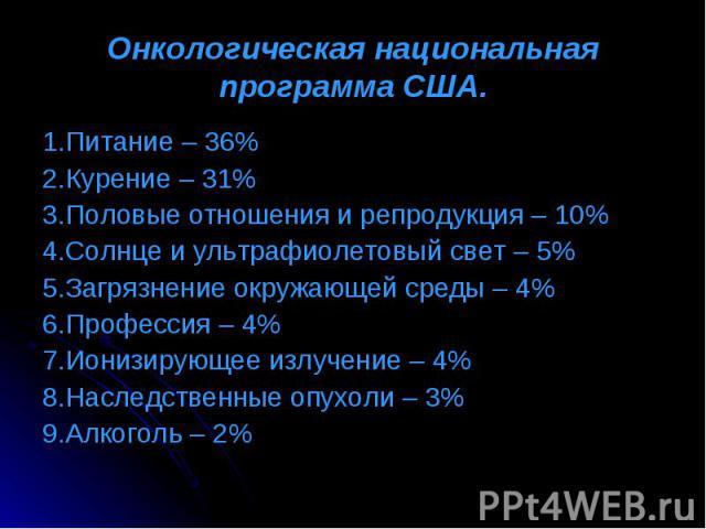 1.Питание – 36% 1.Питание – 36% 2.Курение – 31% 3.Половые отношения и репродукция – 10% 4.Солнце и ультрафиолетовый свет – 5% 5.Загрязнение окружающей среды – 4% 6.Профессия – 4% 7.Ионизирующее излучение – 4% 8.Наследственные опухоли – 3% 9.Алкоголь – 2%