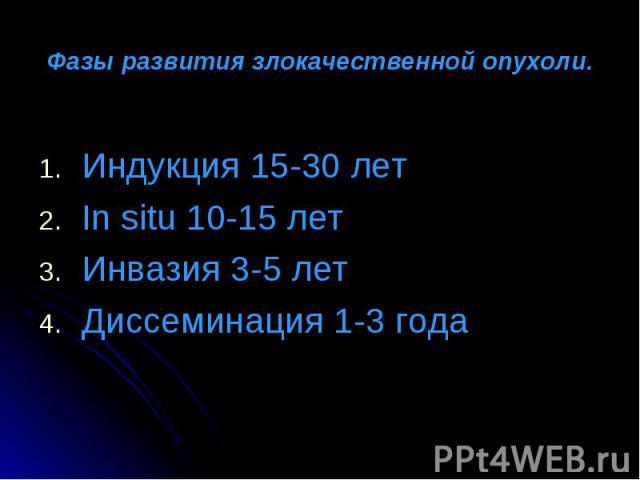 Индукция 15-30 лет Индукция 15-30 лет In situ 10-15 лет Инвазия 3-5 лет Диссеминация 1-3 года