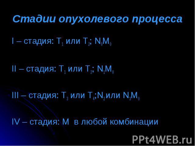 I – стадия: Т1 или Т2; N0M0 I – стадия: Т1 или Т2; N0M0 II – стадия: Т1 или Т2; N1M0 III – стадия: Т3 или Т4;N2 или N3M0 IV – стадия: M в любой комбинации