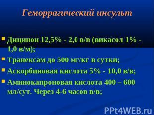 Дицинон 12,5% - 2,0 в/в (викасол 1% - 1,0 в/м); Дицинон 12,5% - 2,0 в/в (викасол