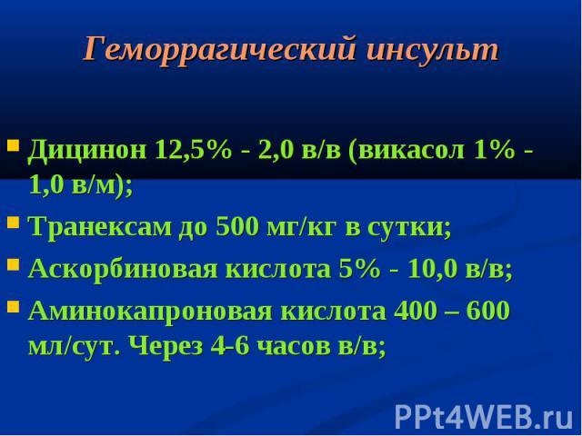 Дицинон 12,5% - 2,0 в/в (викасол 1% - 1,0 в/м); Дицинон 12,5% - 2,0 в/в (викасол 1% - 1,0 в/м); Транексам до 500 мг/кг в сутки; Аскорбиновая кислота 5% - 10,0 в/в; Аминокапроновая кислота 400 – 600 мл/сут. Через 4-6 часов в/в;