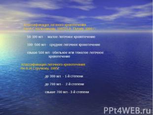 Классификация легоного кровотечения /по И.С.Колесникову, 1983;Н.В. Путову 1990 /