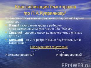 Классификация гемоторакса /по П.А.Куприянову/ В зависимости от количества секвес