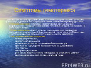 Симптомы гемоторакса Симптоматология гемоторакса несложна. Клиническая картина з