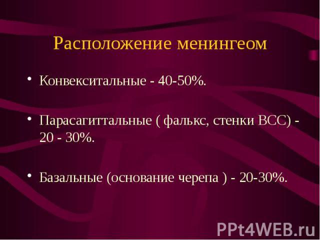 Расположение менингеом Конвекситальные - 40-50%. Парасагиттальные ( фалькс, стенки ВСС) - 20 - 30%. Базальные (основание черепа ) - 20-30%.