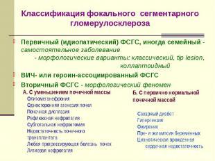 Классификация фокального сегментарного гломерулосклероза Первичный (идиопатическ