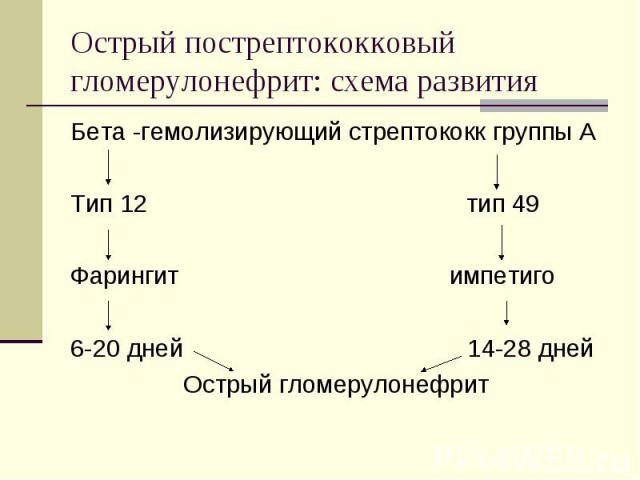 Бета -гемолизирующий стрептококк группы А Бета -гемолизирующий стрептококк группы А Тип 12 тип 49 Фарингит импетиго 6-20 дней 14-28 дней Острый гломерулонефрит